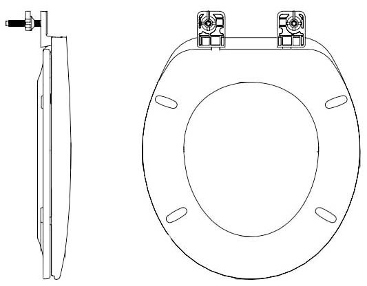 Round Toilet Seat - Closed Front with Cover, Solid Plastic