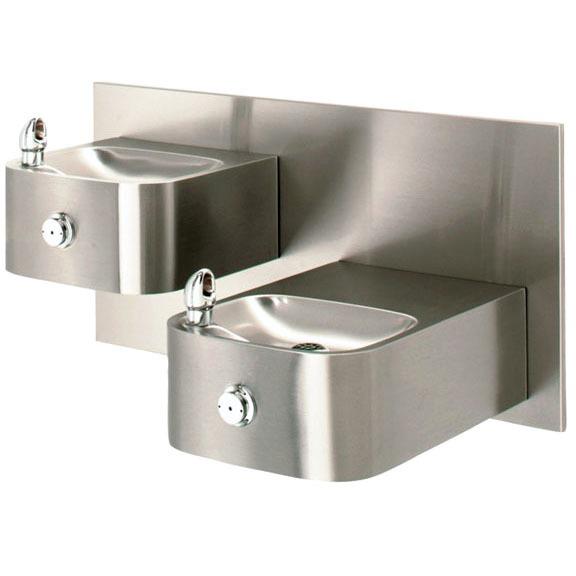 18-gauge, hi-lo, barrier-free, stainless steel, integral bowl