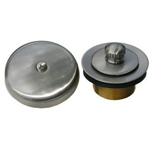 "1-1/4"" Dia Tub and Shower Drain Strainer Kit - Simpatico, Satin Nickel, Solid Brass"