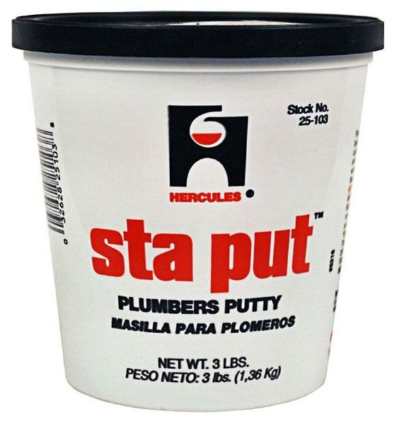 "3"" Sta Put Pail Plumber Putty, White"