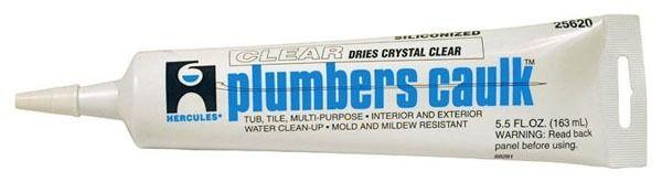 Plumbers Caulk 5.5 Fl Oz Tube Sealant, Clear