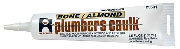 Plumbers Caulk 5.5 Fl Oz Tube Sealant, Almond/Bone
