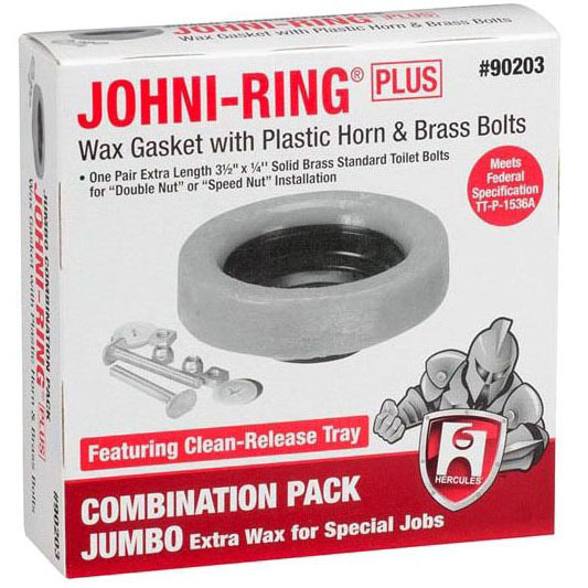 Johni-Ring Closet Gasket Combination Pack, Solid Brass/Petroleum Wax