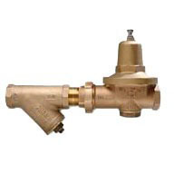 "1-1/2"" Cast Bronze Water Pressure Reducing Valve with Y-Strainer - FPT Union x FPT, 300 psi"