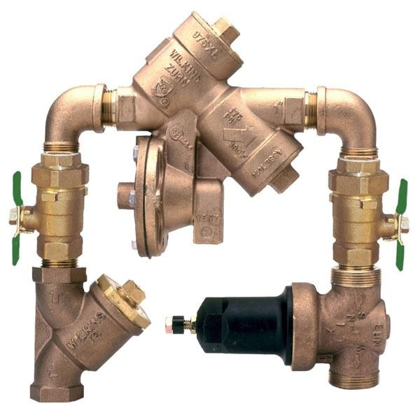"""1"""" Cast Bronze Y-Pattern Reduced Pressure Backflow Preventer Assembly - FPT, 175 psi"""