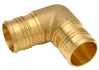 "1-1/4"" Brass 90D Straight Elbow - PEX Barb"