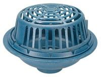 """4"""" No Hub Roof Drain - Top-Set, Bottom Outlet, Low Silhouette Dome, Cast Iron"""