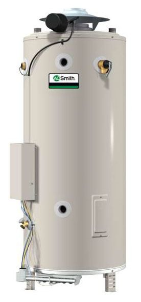 100 Gallon Commercial Natural Gas Water Heater - Master-Fit, 199000 BTU, Top and Rear Water Connections