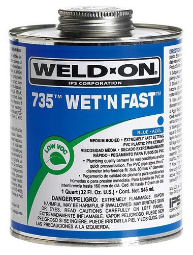 PVC Solvent Cement - Weld-On / Wet N Fast / 735, Medium Blue, 1 Pint Can