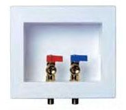 Dual Drain Washing Machine Outlet Box - Water-Tite / DU-ALL, with 1/4 Turn Valve, Brass