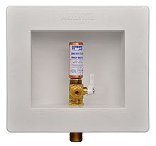 1-Piece Ice Maker Outlet Box - Water-Tite, with 1/4 Turn and Hammer Arrester Valve, Plastic