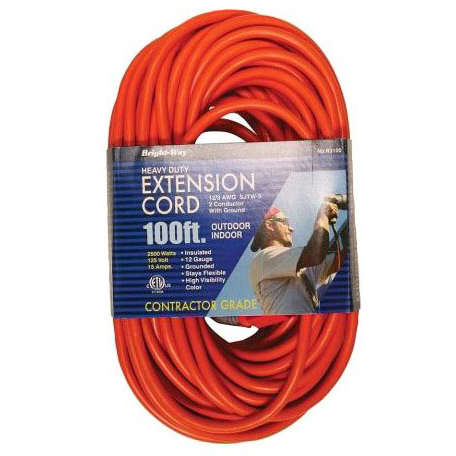 100' 12/3 Round Orange Extension Cord UL Listed