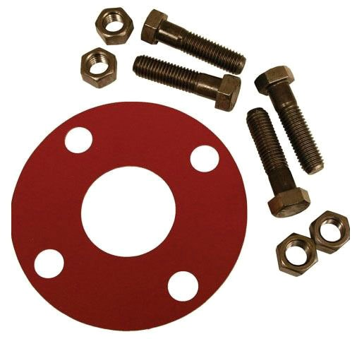 "3"" Red Rubber Full Face Gasket Kit W/ 5/8"" X 3"" Bolts"