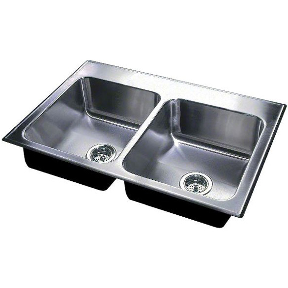 "33"" x 19"" Drop-In Mount Double-Equal Bowl Kitchen Sink - Grip-Rim Plus, Polished Satin Blended, Stainless Steel"