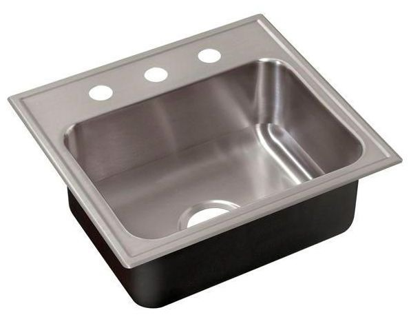 "19"" x 17-1/2"" Drop-In Mount Single Bowl Kitchen Sink - Grip-Rim Plus, Polished Satin Blended, Stainless Steel"
