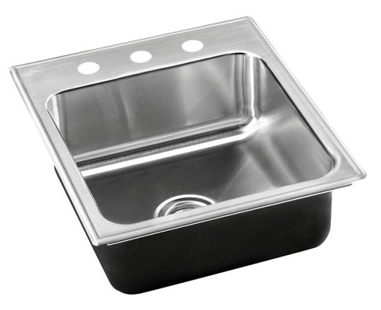 "15"" x 18"" Drop-In Mount Single Bowl Kitchen Sink - Grip-Rim Plus, Polished Satin Blended, Stainless Steel"