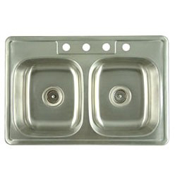 "Gourmetier 33"" X 22"" Drop-In Mount Kitchen Sink, 304 Stainless Steel"