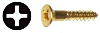 "#10 2"" Flat Head Phillips Wood Screw, Solid Brass"