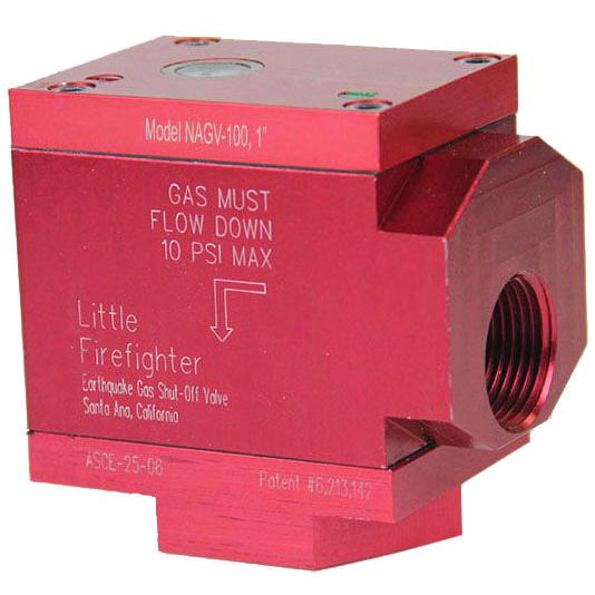 """1"""" Threaded Gas Safety Valve, Solid Aluminum 90 Degree"""