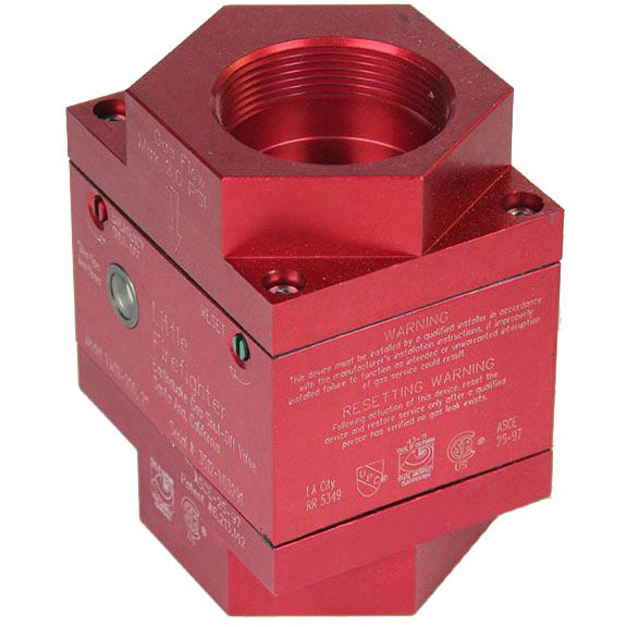 "2"" Threaded Gas Safety Valve, Solid Aluminum Vertical"