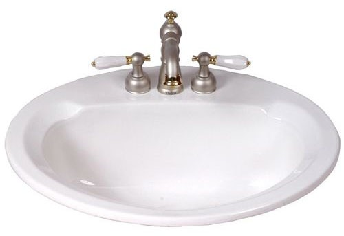 "Maverick 20"" X 17"" Drop-In Mount Bathroom Sink, Vitreous China White"