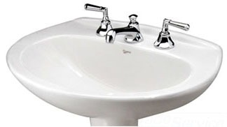 "25"" x 19"" Pedestal Mount Bathroom Sink - ALTO IV, 3-Hole, White, Vitreous China"
