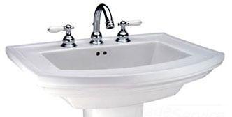 "24-3/8"" x 19-1/8"" Pedestal Mount Bathroom Sink - Barrett, 3-Hole, White, Vitreous China"
