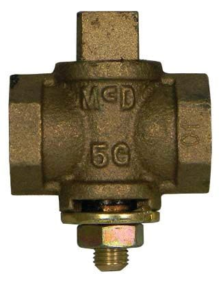 "1-1/4"" Threaded Gas Plug Valve, Bronze"