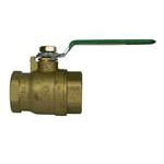"1-1/4"" Threaded Gas Ball Valve, Forged Brass"