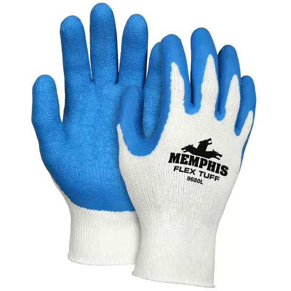 Knit Wrist Gloves, White/Blue L