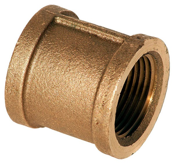 """3/4"""" Brass Straight Coupling - FPT, 125 psi"""