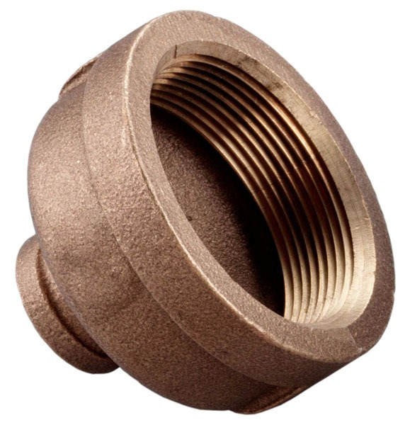 """1/4"""" x 1/8"""" Brass Reducing Coupling - FPT, 125 psi"""