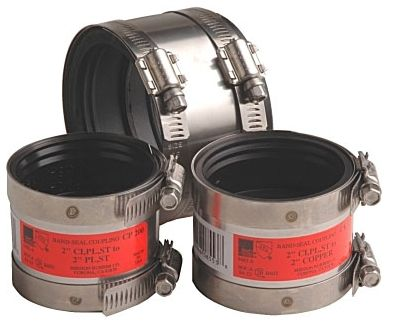 """10"""" Cast Iron x Plastic/Steel/Extra Heavy Cast Iron 300 Stainless Steel Shielded Transition Pipe Repair Coupling"""