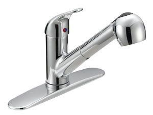 Kitchen Faucet with Pull-Out Spout & Single Lever Handle - Builder, Chrome Plated, Deck Mount, 1.5 GPM