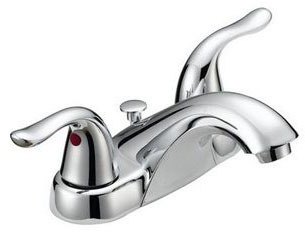 Bathroom Sink Faucet with Two Lever Handle - Chrome Plated, Deck Mount, 1.2 GPM