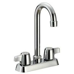 Bar Faucet with Gooseneck Spout & Two Wing Handle - Classic, Chrome Plated, Deck Mount, 1.5 GPM
