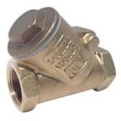 "1-1/4"" Brass Y-Pattern Swing Check Valve - Eco-Valve, FPT, 200 psi WOG, 125 psi SWP"