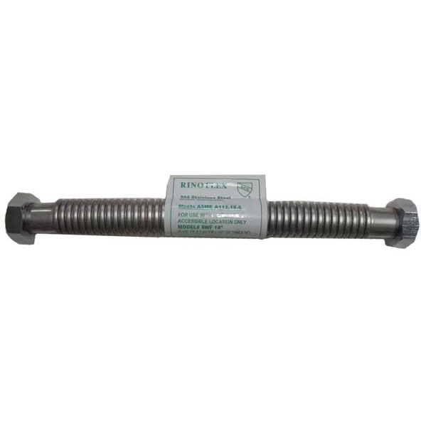 "Threaded Water Heater Connector, 304 Stainless Steel 1-1/2"" Female Threaded x 1-1/2"" Female Threaded X 18"""