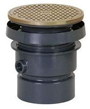 """4"""" Hub Rough-In Cleanout - FinishLine, PVC, SCH 40, with Round Nickel Bronze Top"""