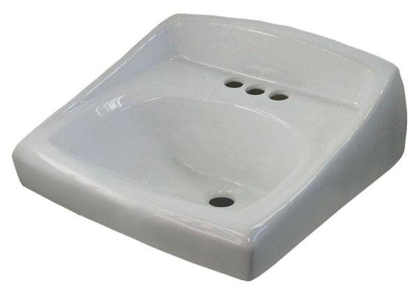 "20.75"" x 18.25"" Wall Mount Bathroom Sink - 3-Hole, White, Vitreous China"