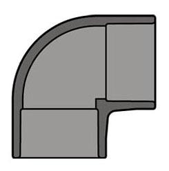 "1-1/4"" CPVC 90D Straight Elbow - SCH 80, Socket"