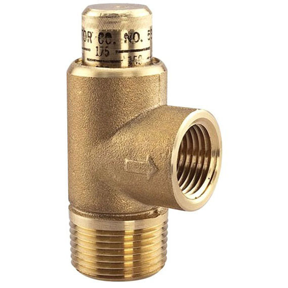 """3/4"""" Brass Calibrated Pressure Relief Valve - MPT x FPT, 50 to 175 psi"""