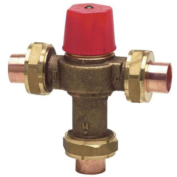"""1/2"""" Cast Copper Silicon Alloy Hot Water Temperature Control Valve - Soldered Union, 150 psi"""