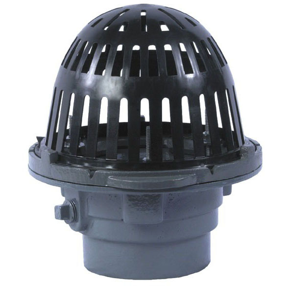 "4"" No Hub Roof Drain - Bottom Outlet, Dome, Cast Iron"
