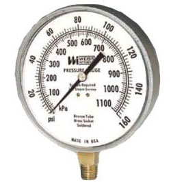 300 PSI Stem Mount Pressure Gauge, Stainless Steel