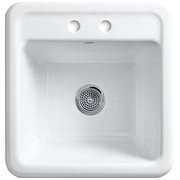 "Park Falls Drop-In/Undermount Utility Sink, Cast Iron 21"" X 22"" X 13-5/8"" White"