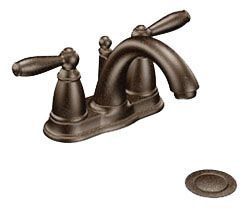 Bathroom Sink Faucet with Low-Arc Spout & Two Lever Handle - Brantford, Oil Rubbed Bronze, Deck Mount, 1.5 GPM