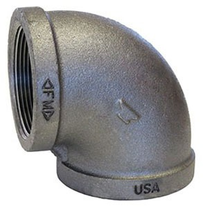 "1-1/2"" Black Malleable Iron 90 Elbow Domestic"