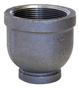 "3"" x 1-1/4"" Black Malleable Iron Concentric Reducer - FPT, Class 150, Domestic"