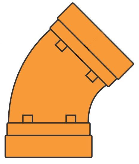 """2"""" Cast Ductile Iron 45D Elbow"""